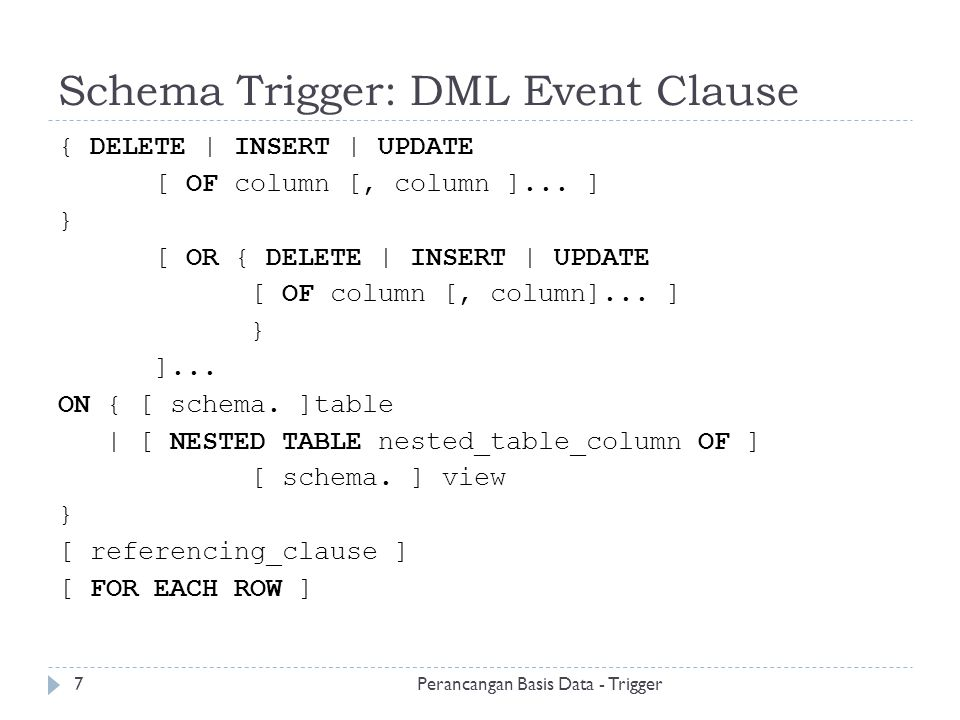 Schema Trigger: DML Event Clause