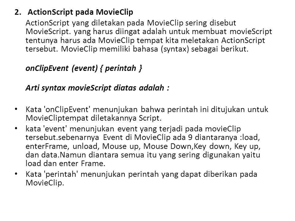 2. ActionScript pada MovieClip