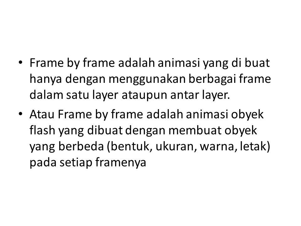 Frame by frame adalah animasi yang di buat hanya dengan menggunakan berbagai frame dalam satu layer ataupun antar layer.