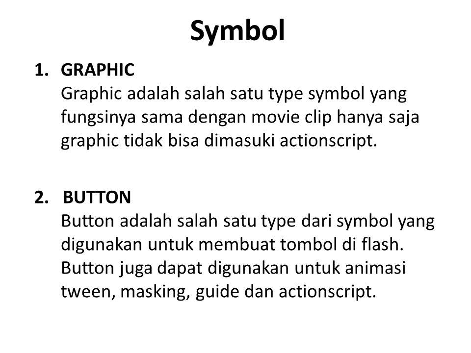 Symbol GRAPHIC Graphic adalah salah satu type symbol yang fungsinya sama dengan movie clip hanya saja graphic tidak bisa dimasuki actionscript.
