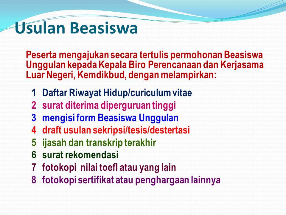 Usulan Beasiswa 1 Daftar Riwayat Hidup/curiculum vitae