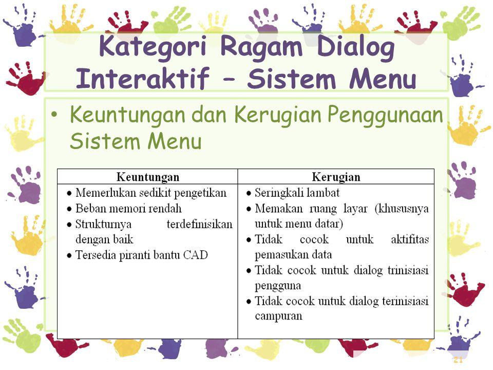 Kategori Ragam Dialog Interaktif – Sistem Menu
