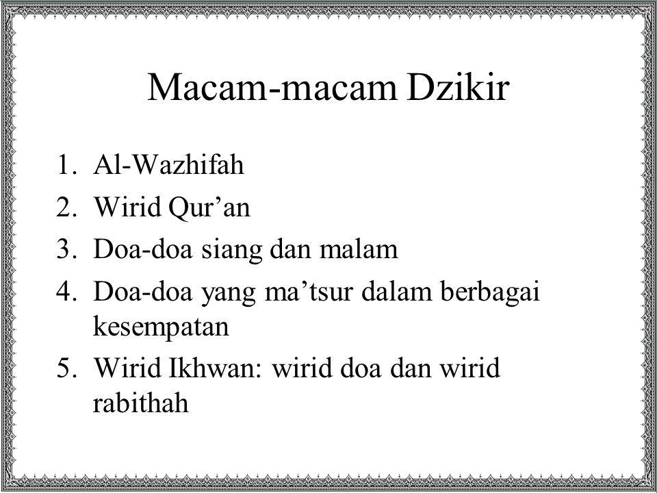 Macam-macam Dzikir Al-Wazhifah Wirid Qur'an Doa-doa siang dan malam