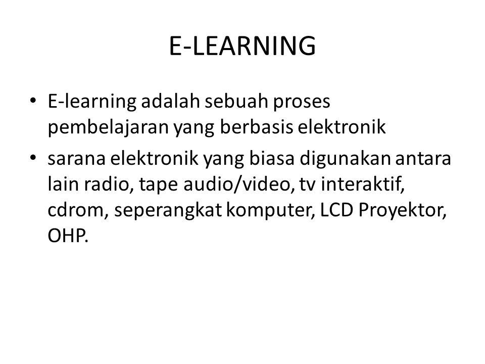 E-LEARNING E-learning adalah sebuah proses pembelajaran yang berbasis elektronik.