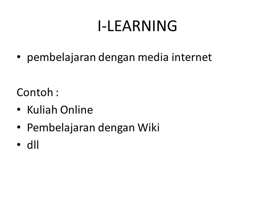 I-LEARNING pembelajaran dengan media internet Contoh : Kuliah Online