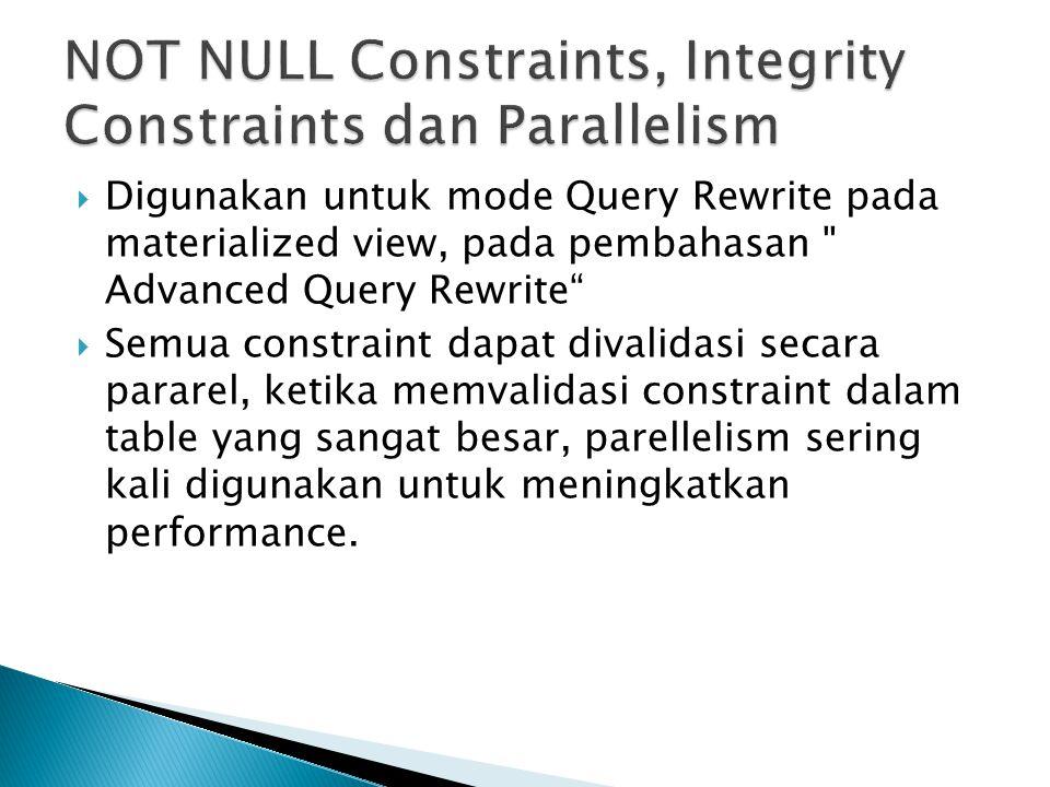 NOT NULL Constraints, Integrity Constraints dan Parallelism