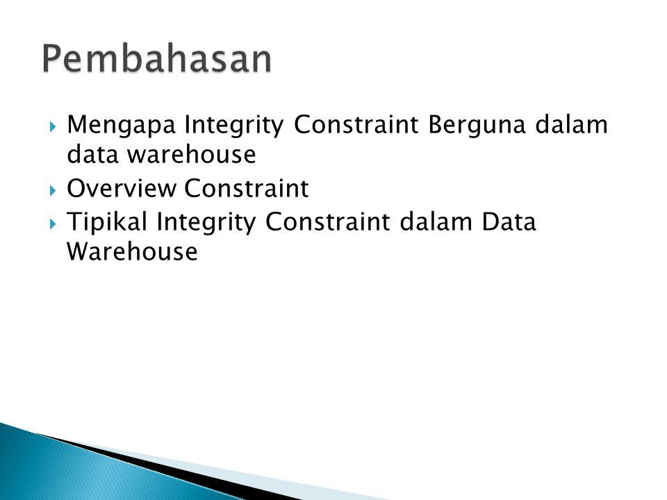 Pembahasan Mengapa Integrity Constraint Berguna dalam data warehouse