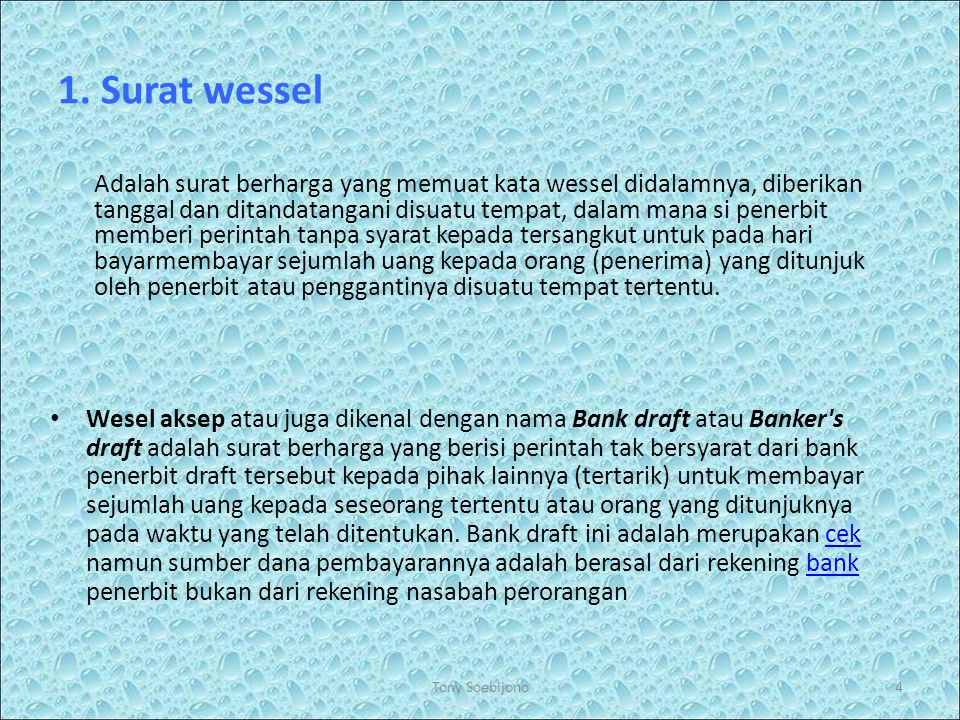 1. Surat wessel