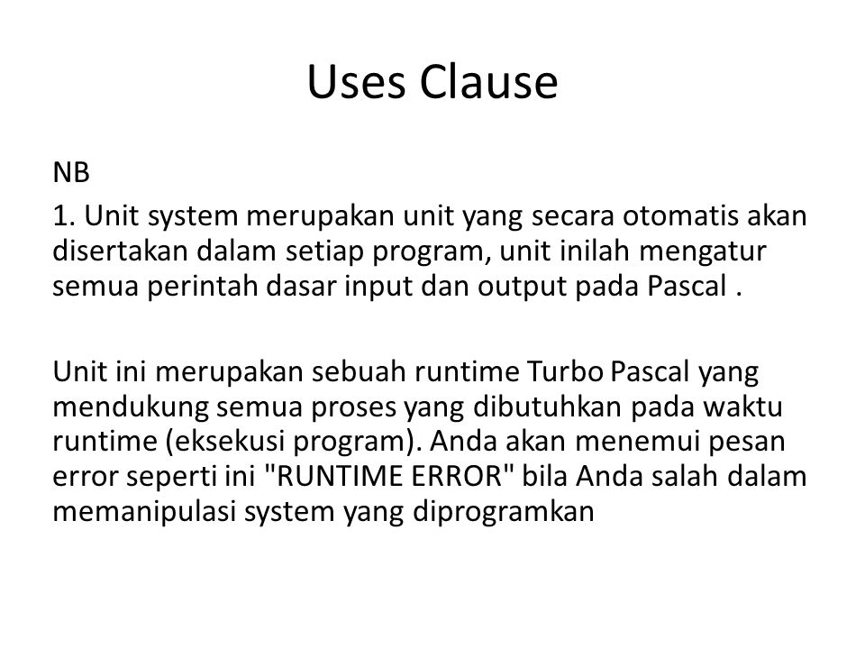 Uses Clause