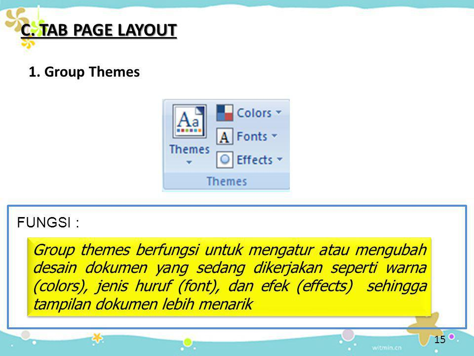 C. TAB PAGE LAYOUT 1. Group Themes