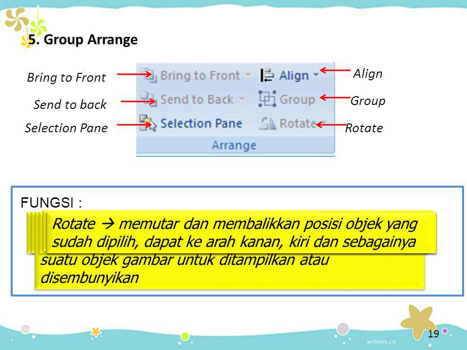 5. Group Arrange Align. Bring to Front. Group. Send to back. Selection Pane. Rotate. FUNGSI :