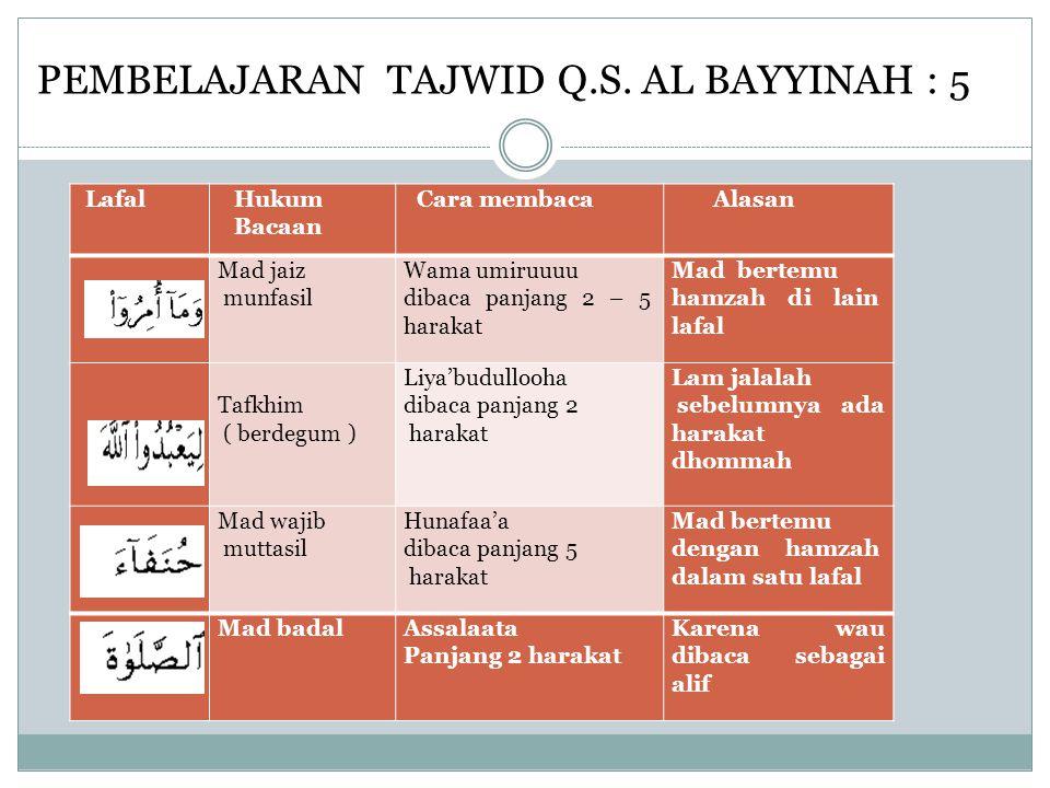 PEMBELAJARAN TAJWID Q.S. AL BAYYINAH : 5