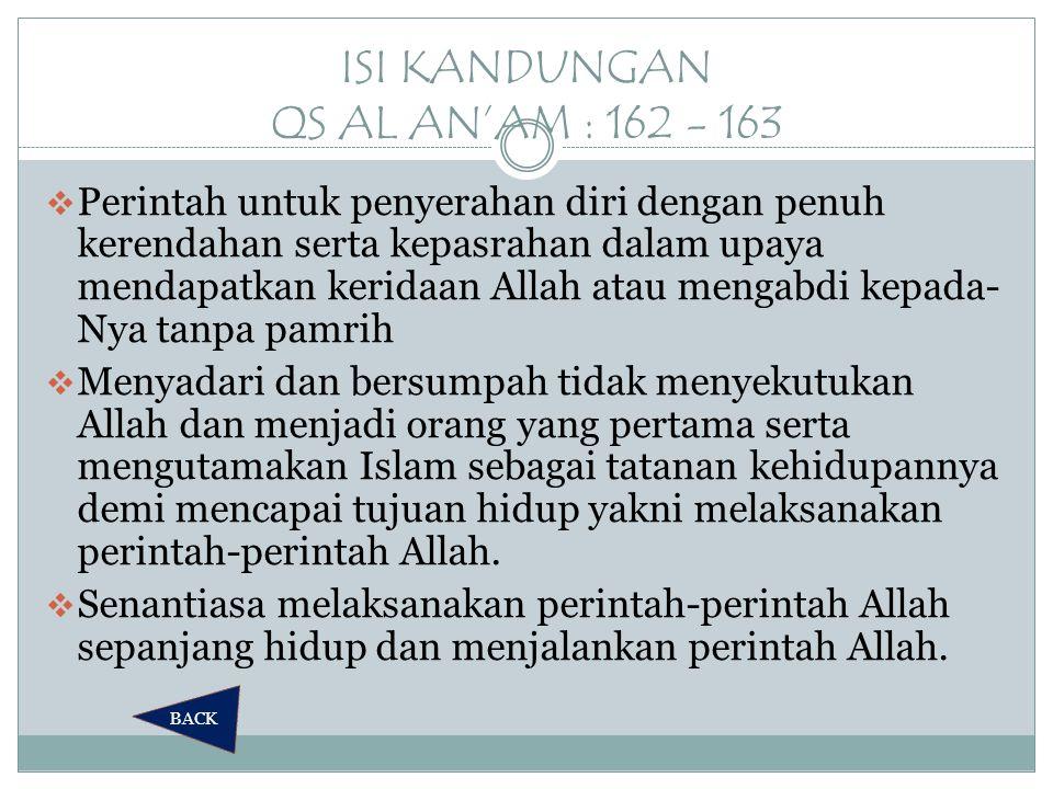 ISI KANDUNGAN QS AL AN'AM : 162 - 163