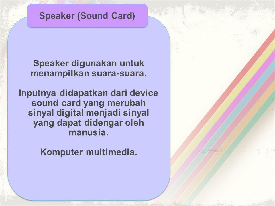 Speaker digunakan untuk menampilkan suara-suara.
