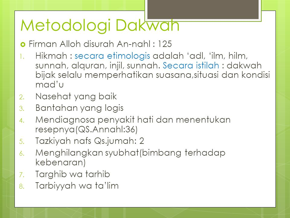 Metodologi Dakwah Firman Alloh disurah An-nahl : 125
