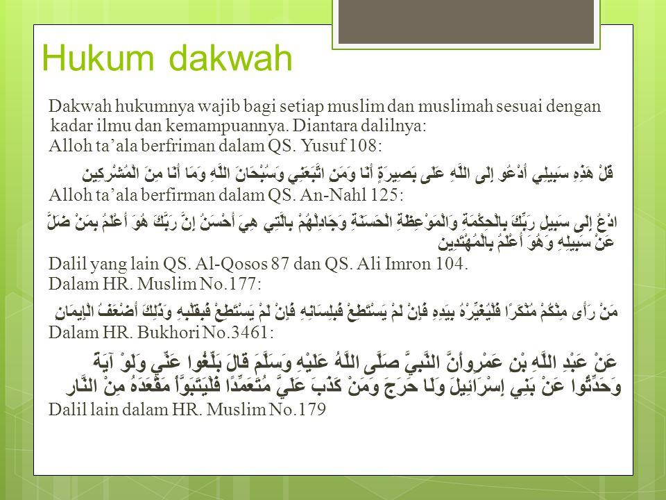 Hukum dakwah Dakwah hukumnya wajib bagi setiap muslim dan muslimah sesuai dengan kadar ilmu dan kemampuannya. Diantara dalilnya: