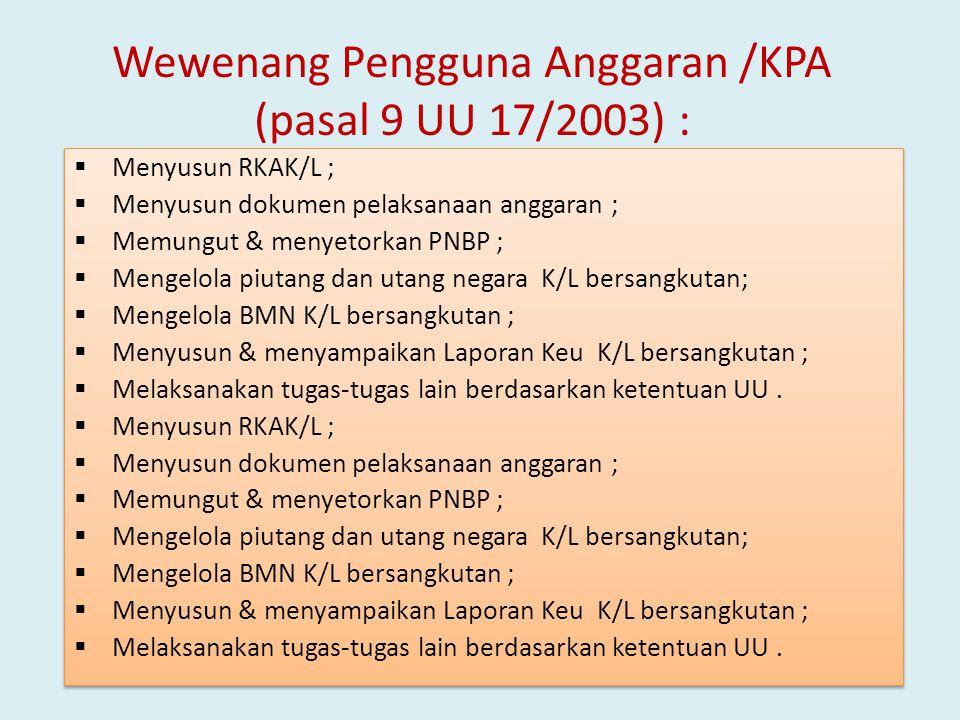 Wewenang Pengguna Anggaran /KPA (pasal 9 UU 17/2003) :