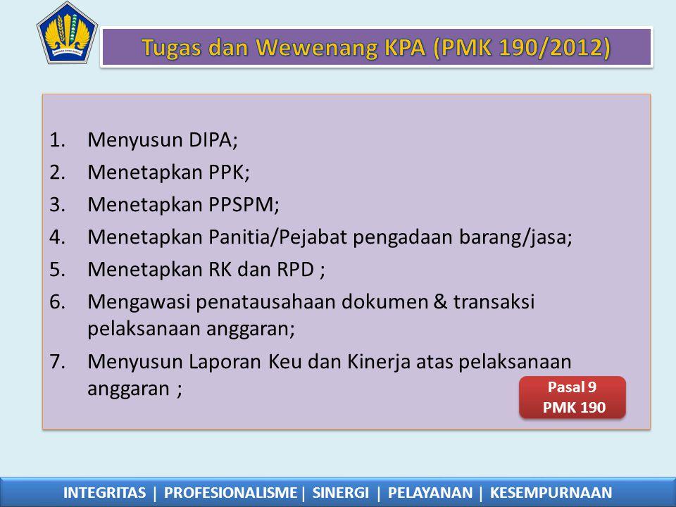 Tugas dan Wewenang KPA (PMK 190/2012)