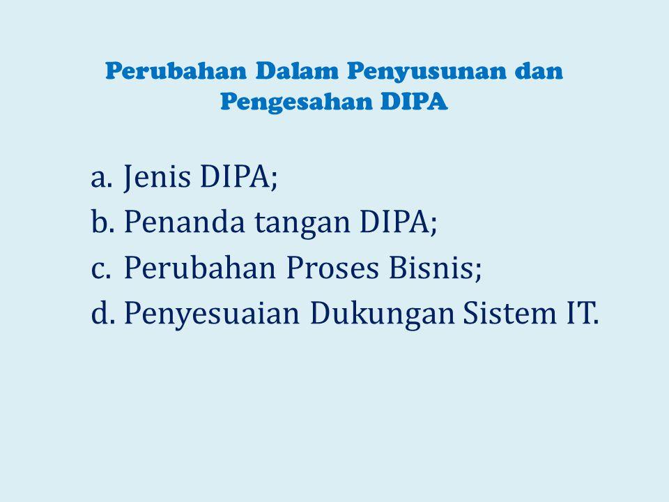 Perubahan Dalam Penyusunan dan Pengesahan DIPA