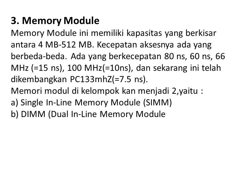 3. Memory Module Memory Module ini memiliki kapasitas yang berkisar antara 4 MB-512 MB.
