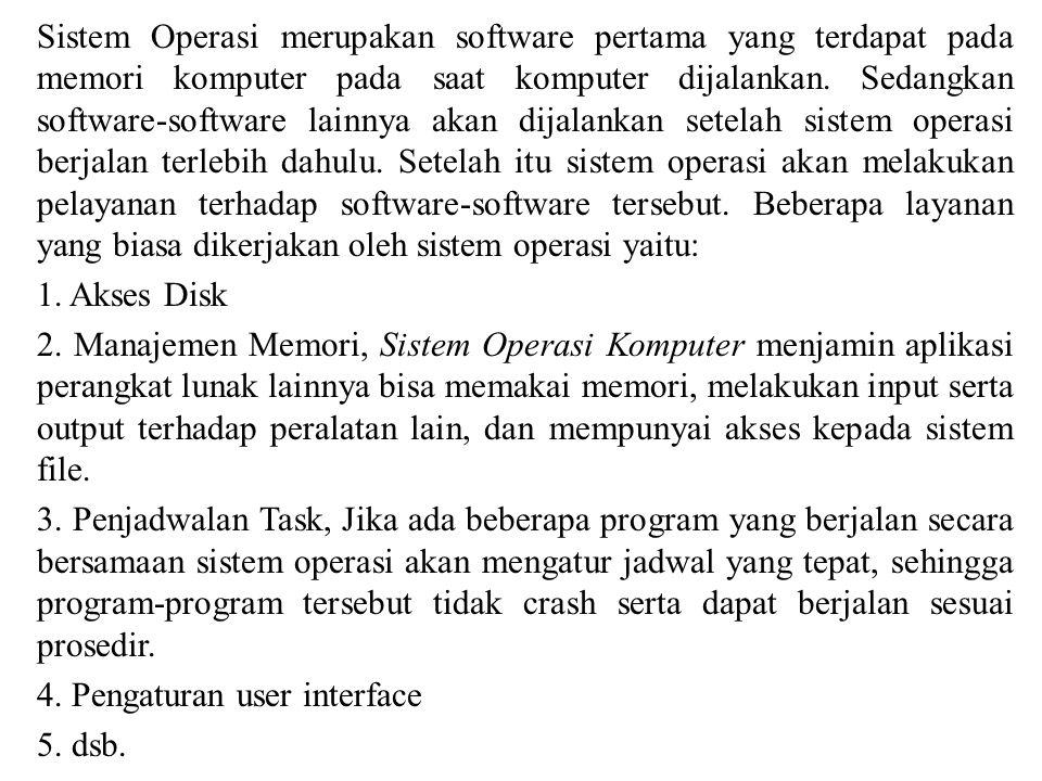 Sistem Operasi merupakan software pertama yang terdapat pada memori komputer pada saat komputer dijalankan.