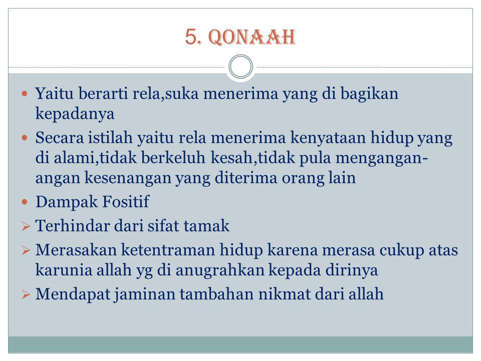5. QONAAH Yaitu berarti rela,suka menerima yang di bagikan kepadanya