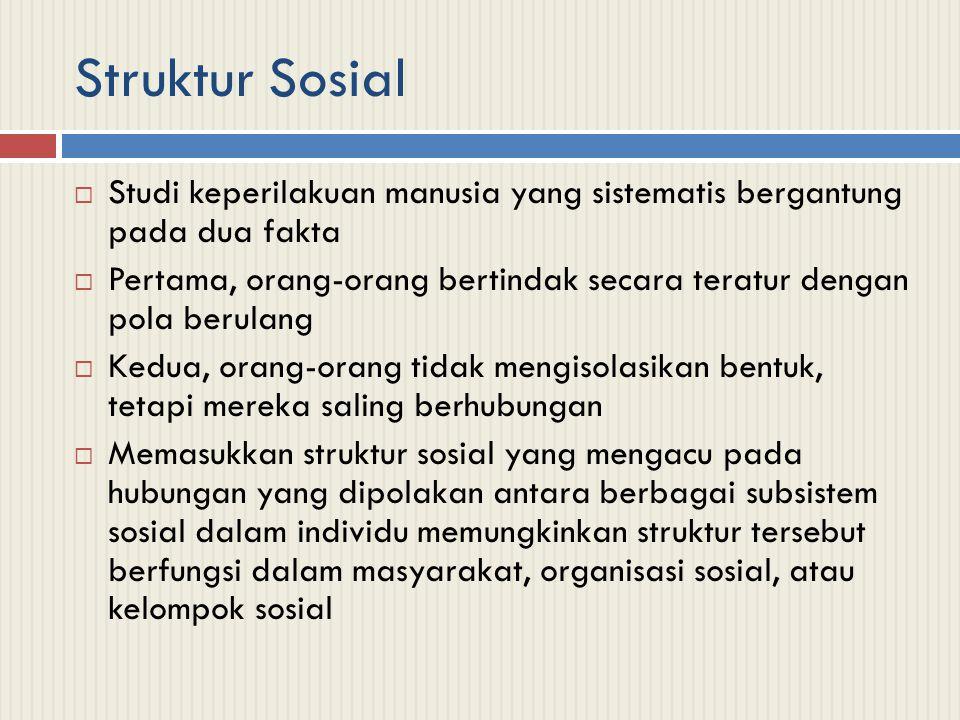 Struktur Sosial Studi keperilakuan manusia yang sistematis bergantung pada dua fakta.