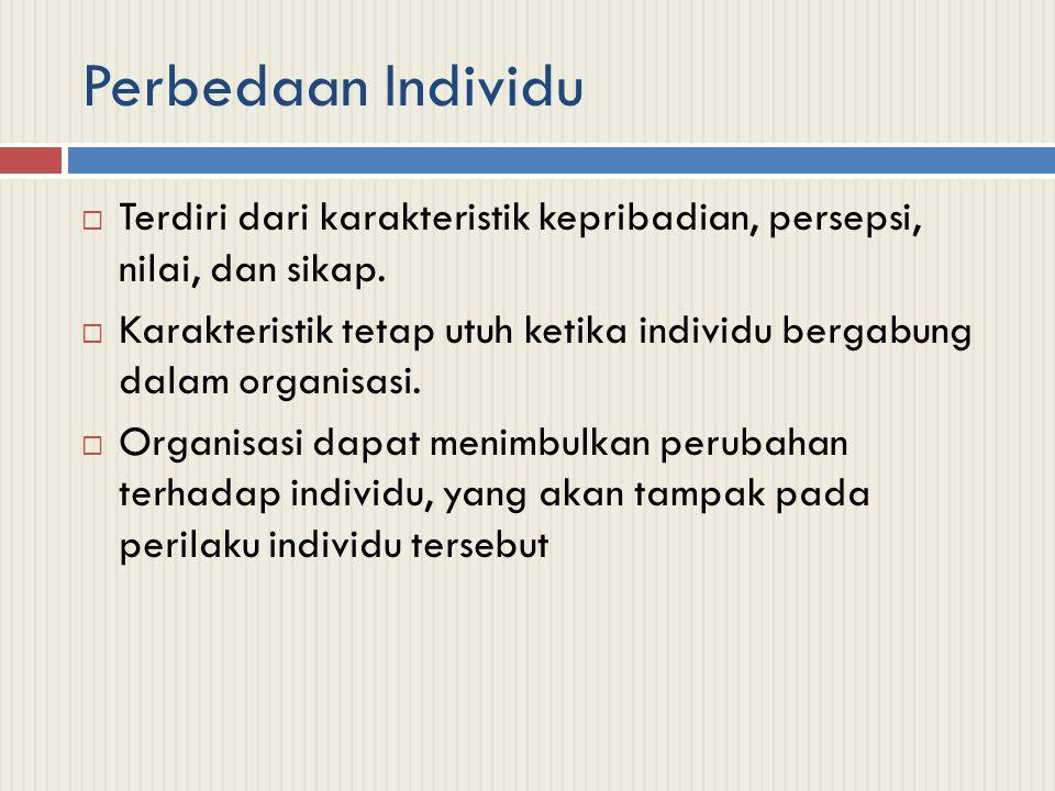 Perbedaan Individu Terdiri dari karakteristik kepribadian, persepsi, nilai, dan sikap.