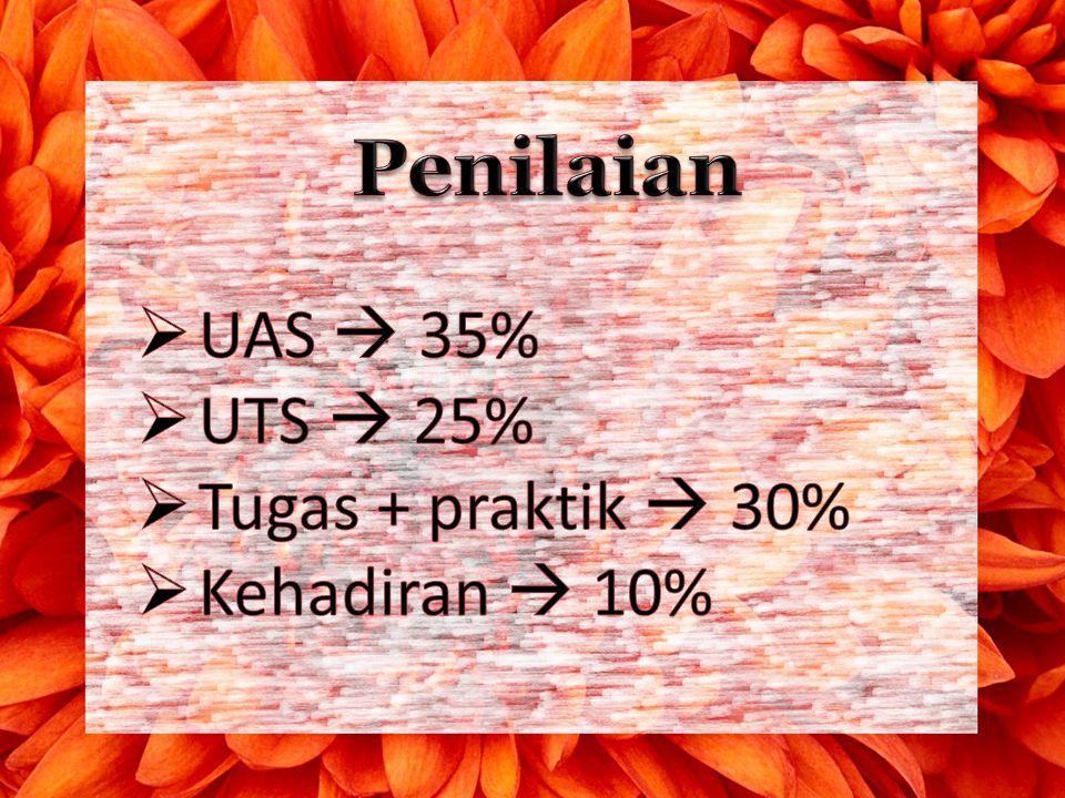 Penilaian UAS  35% UTS  25% Tugas + praktik  30% Kehadiran  10%