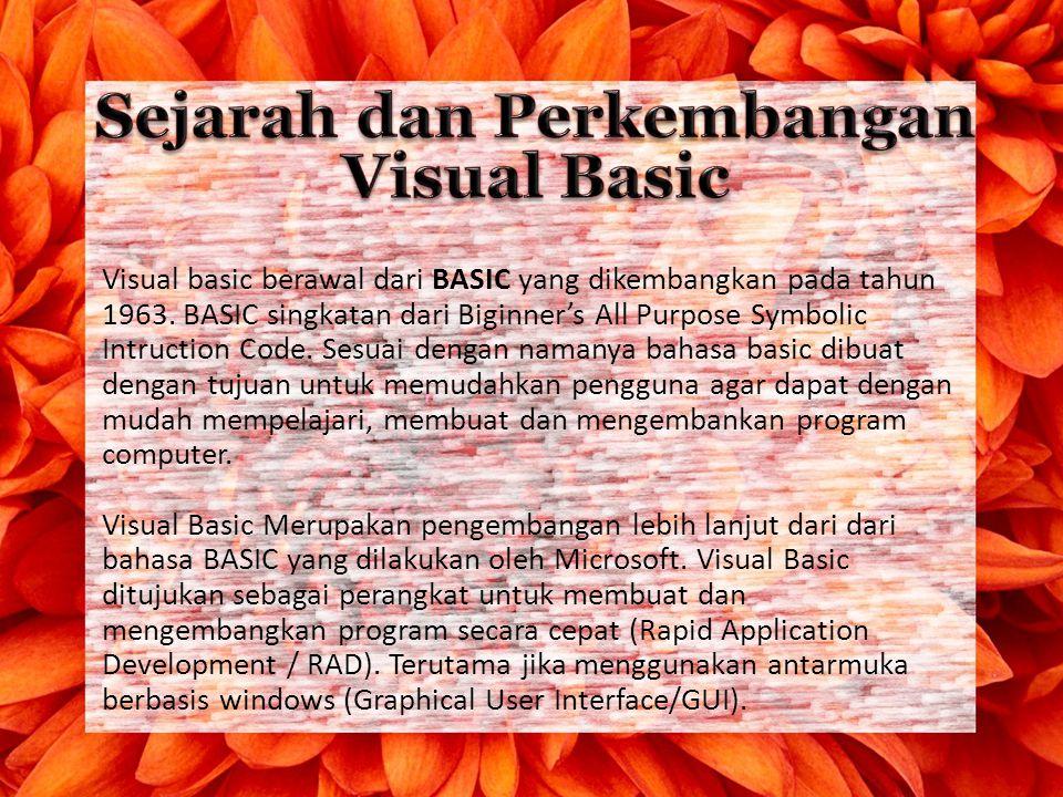 Sejarah dan Perkembangan Visual Basic