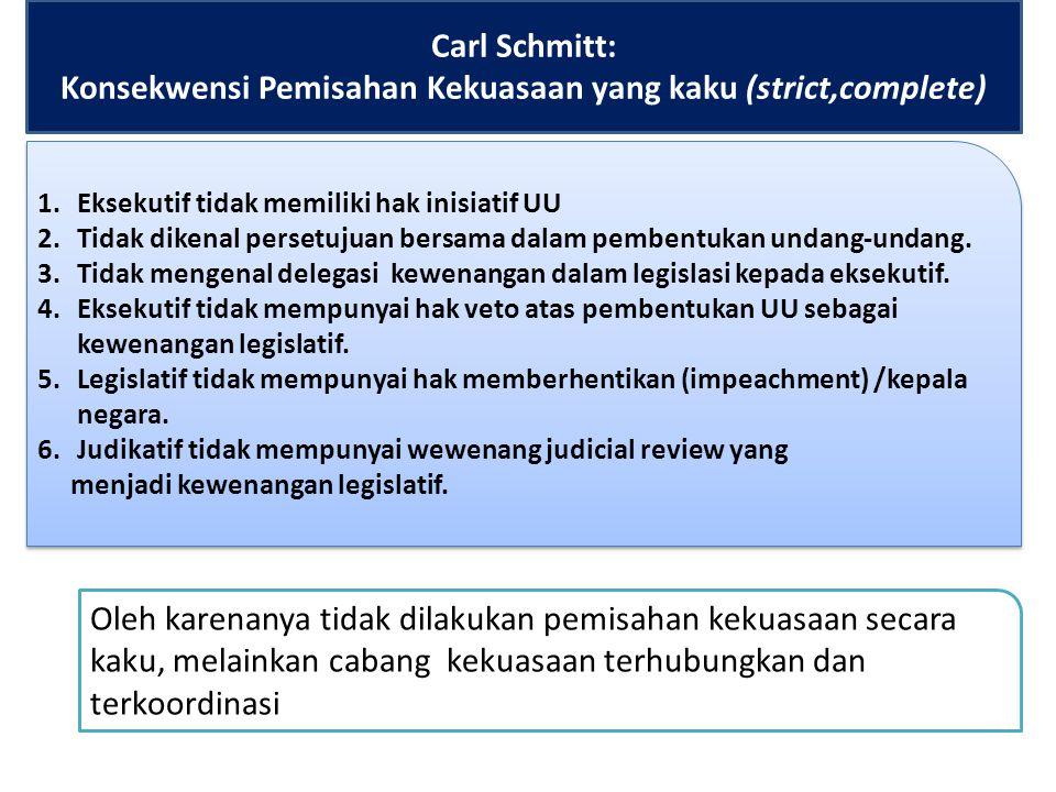 Carl Schmitt: Konsekwensi Pemisahan Kekuasaan yang kaku (strict,complete)