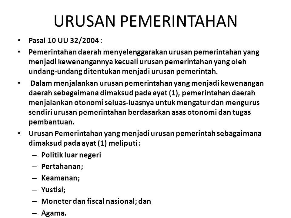 URUSAN PEMERINTAHAN Pasal 10 UU 32/2004 :