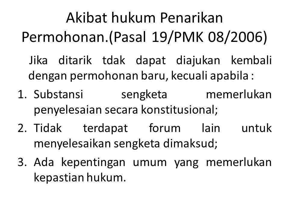 Akibat hukum Penarikan Permohonan.(Pasal 19/PMK 08/2006)