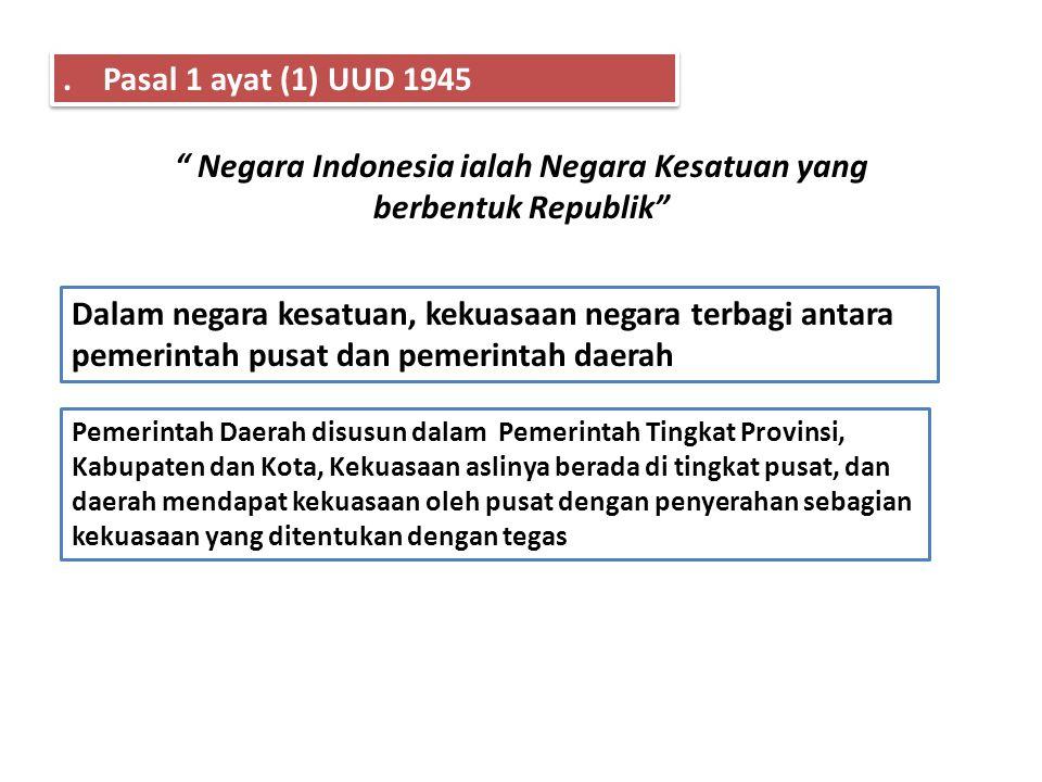 Negara Indonesia ialah Negara Kesatuan yang berbentuk Republik