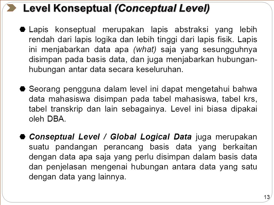 Level Konseptual (Conceptual Level)
