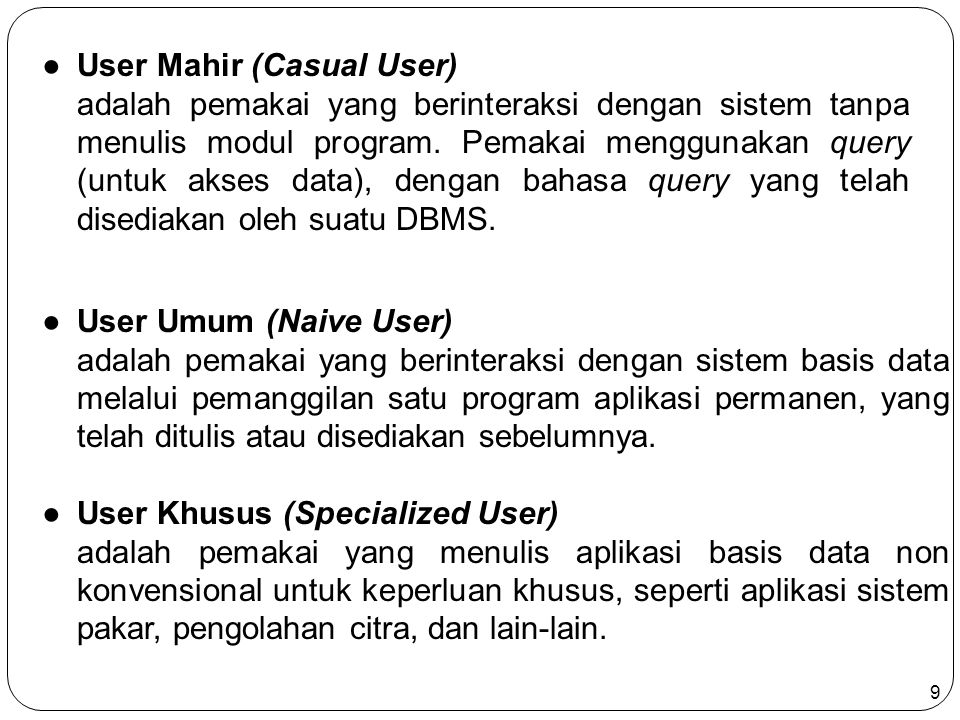 User Mahir (Casual User)