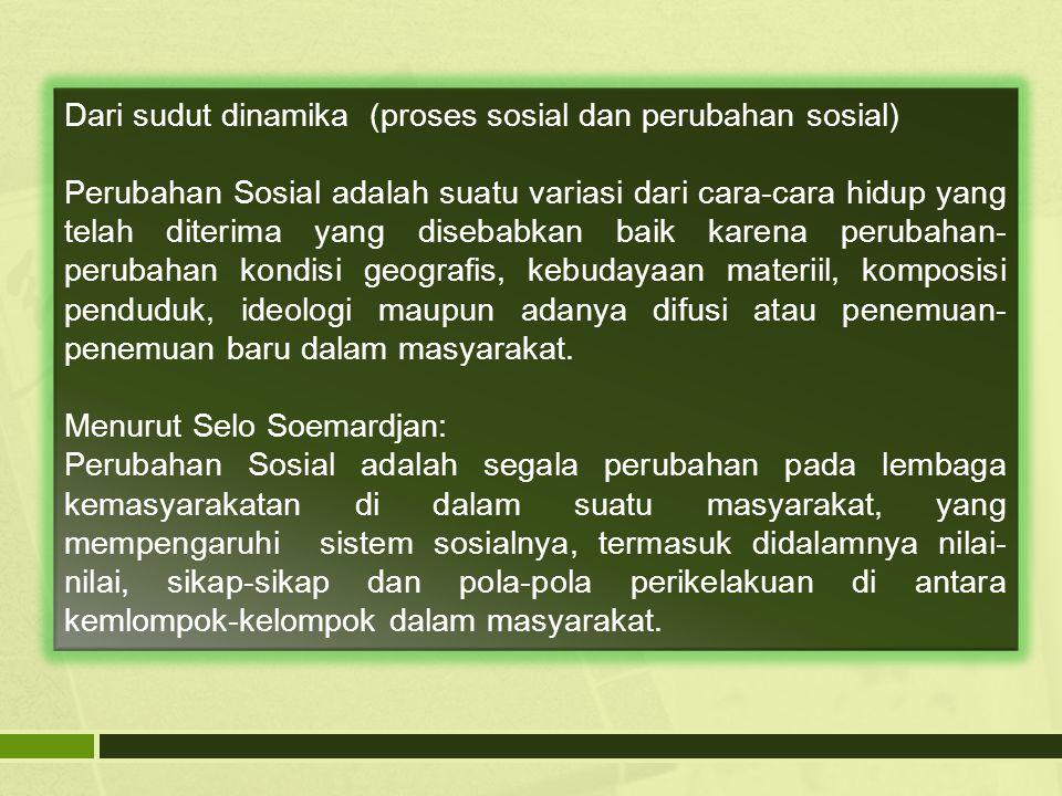 Dari sudut dinamika (proses sosial dan perubahan sosial)