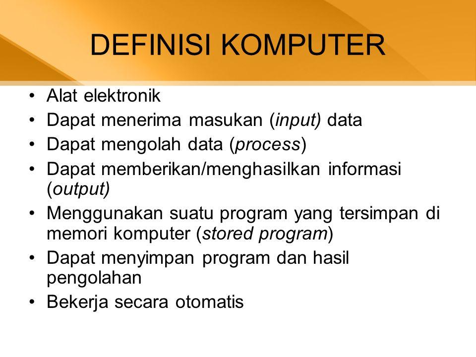 DEFINISI KOMPUTER Alat elektronik Dapat menerima masukan (input) data