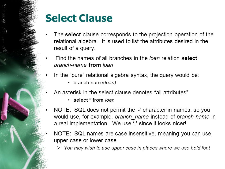 Select Clause