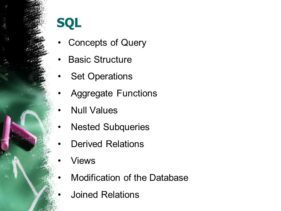 SQL Concepts of Query Basic Structure Set Operations