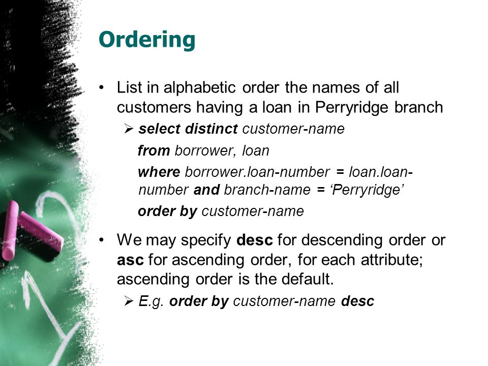 Ordering List in alphabetic order the names of all customers having a loan in Perryridge branch. select distinct customer-name.