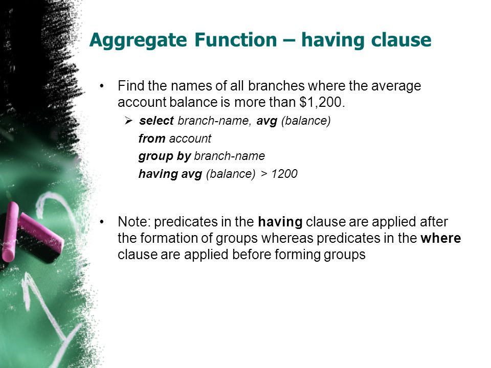 Aggregate Function – having clause