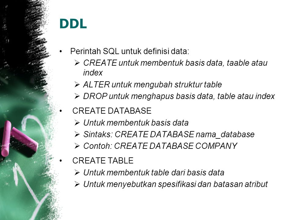 DDL Perintah SQL untuk definisi data: