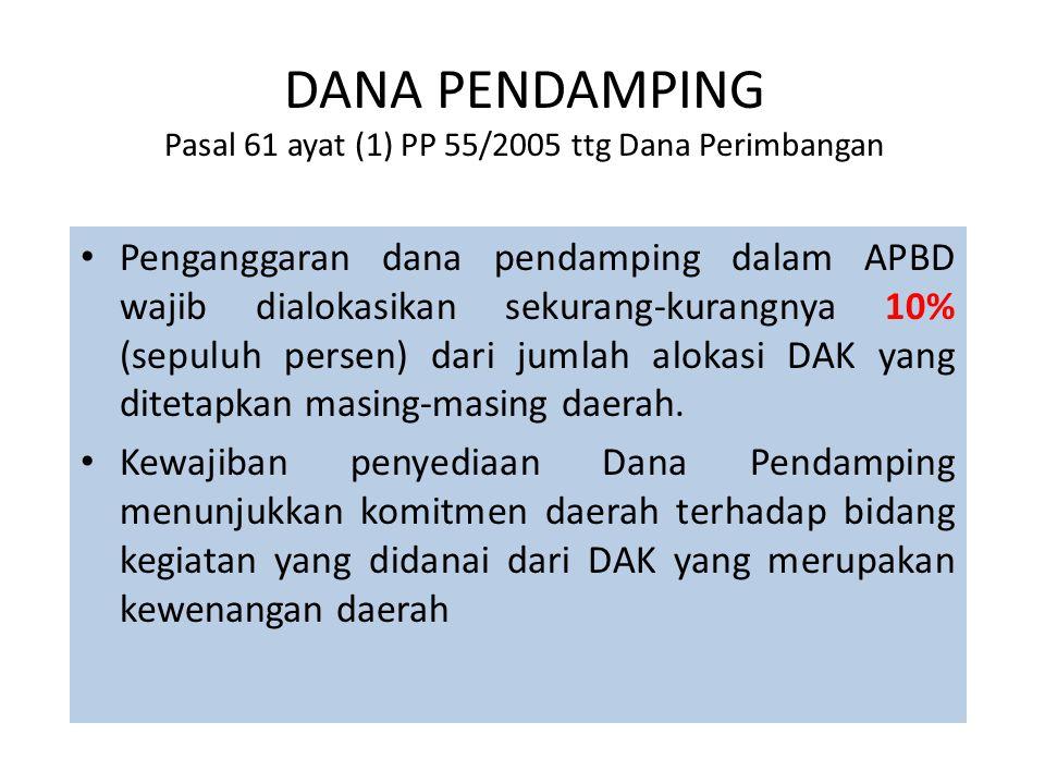 DANA PENDAMPING Pasal 61 ayat (1) PP 55/2005 ttg Dana Perimbangan