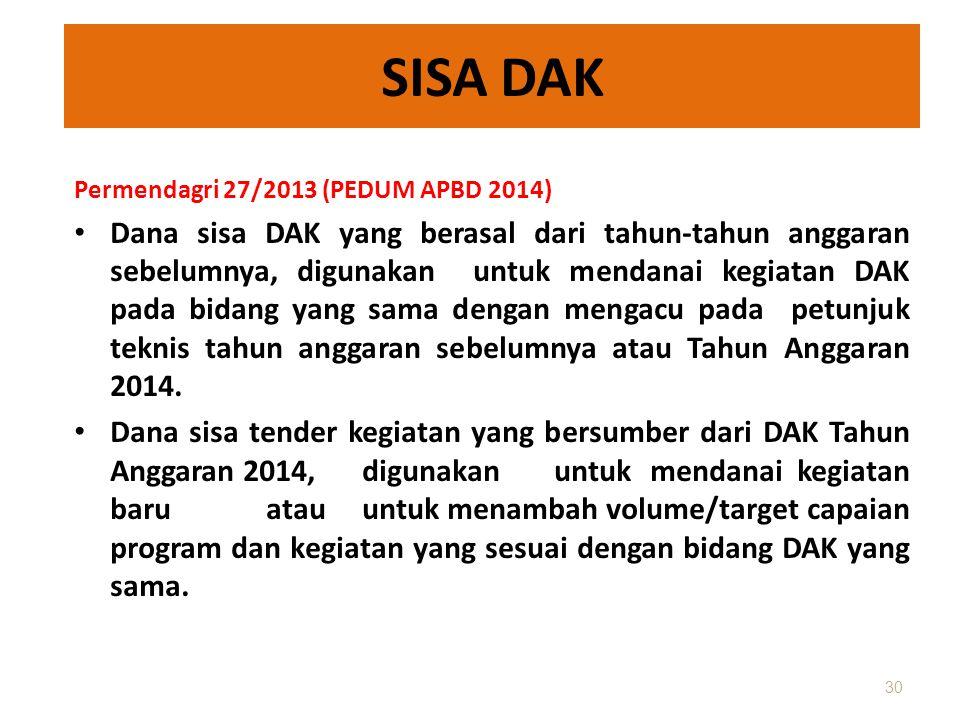 SISA DAK Permendagri 27/2013 (PEDUM APBD 2014)