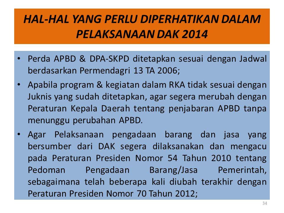 HAL-HAL YANG PERLU DIPERHATIKAN DALAM PELAKSANAAN DAK 2014