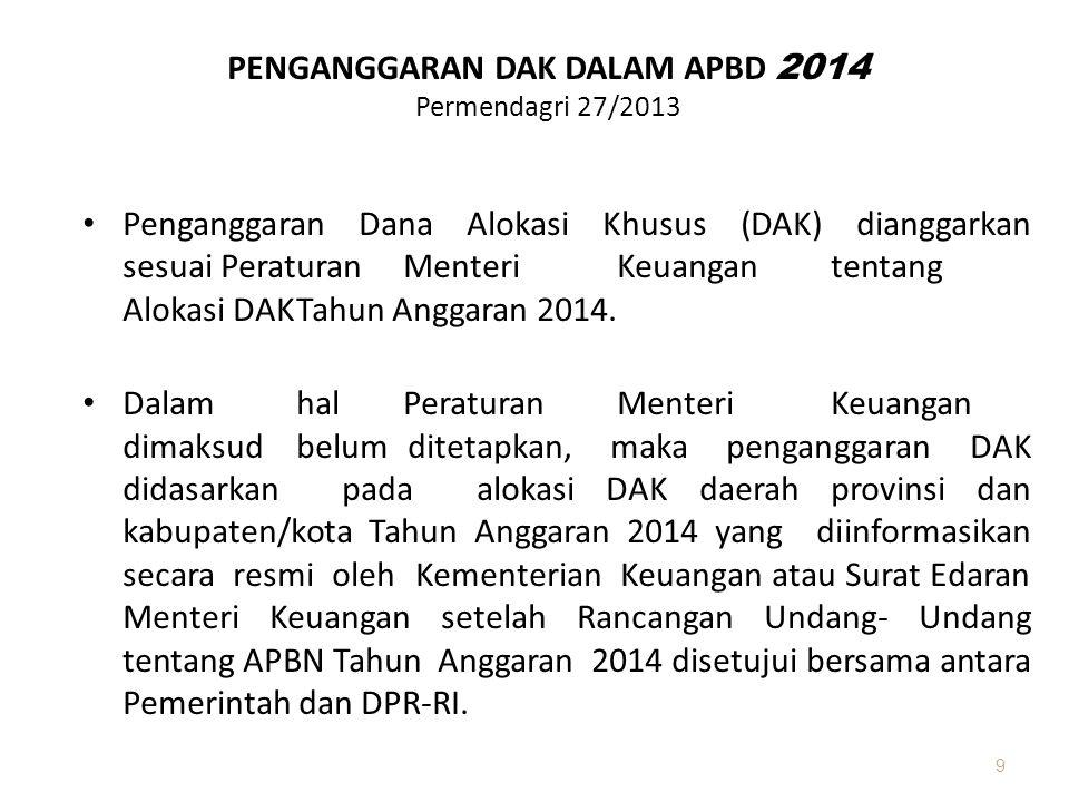 PENGANGGARAN DAK DALAM APBD 2014 Permendagri 27/2013