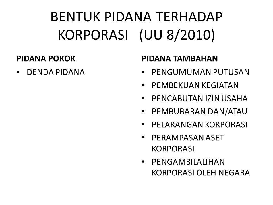 BENTUK PIDANA TERHADAP KORPORASI (UU 8/2010)