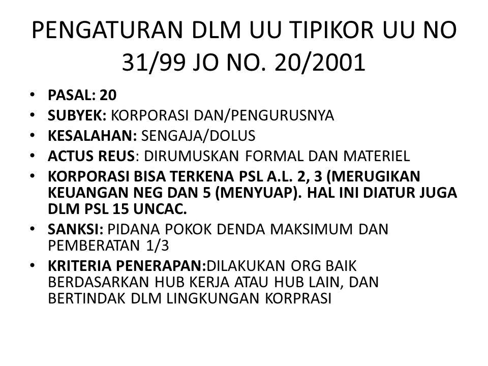 PENGATURAN DLM UU TIPIKOR UU NO 31/99 JO NO. 20/2001