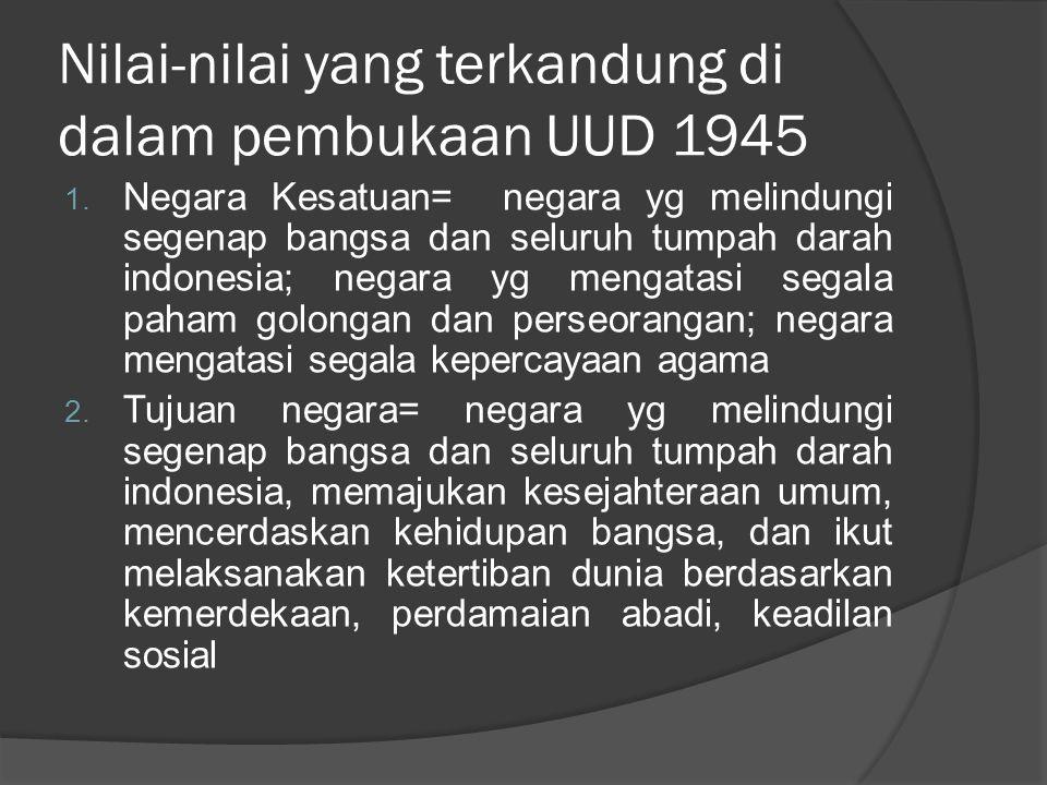 Nilai-nilai yang terkandung di dalam pembukaan UUD 1945